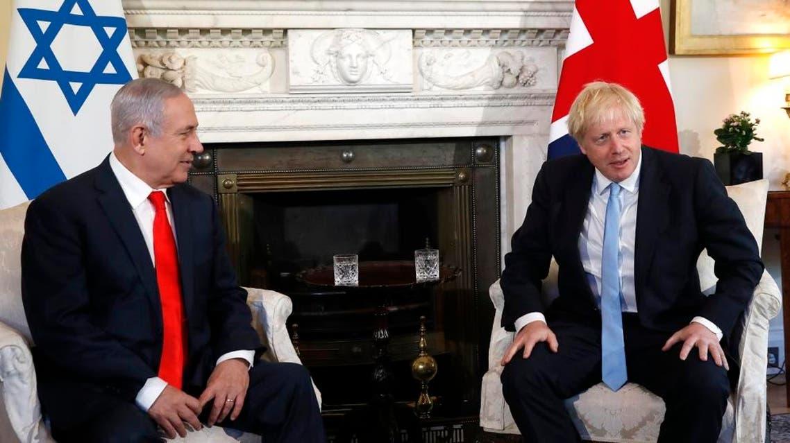 British Prime Minister Boris Johnson and Israeli Prime Minister Benjamin Netanyahu. (AFP)