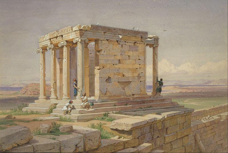 لوحة تجسد معبد أثينا