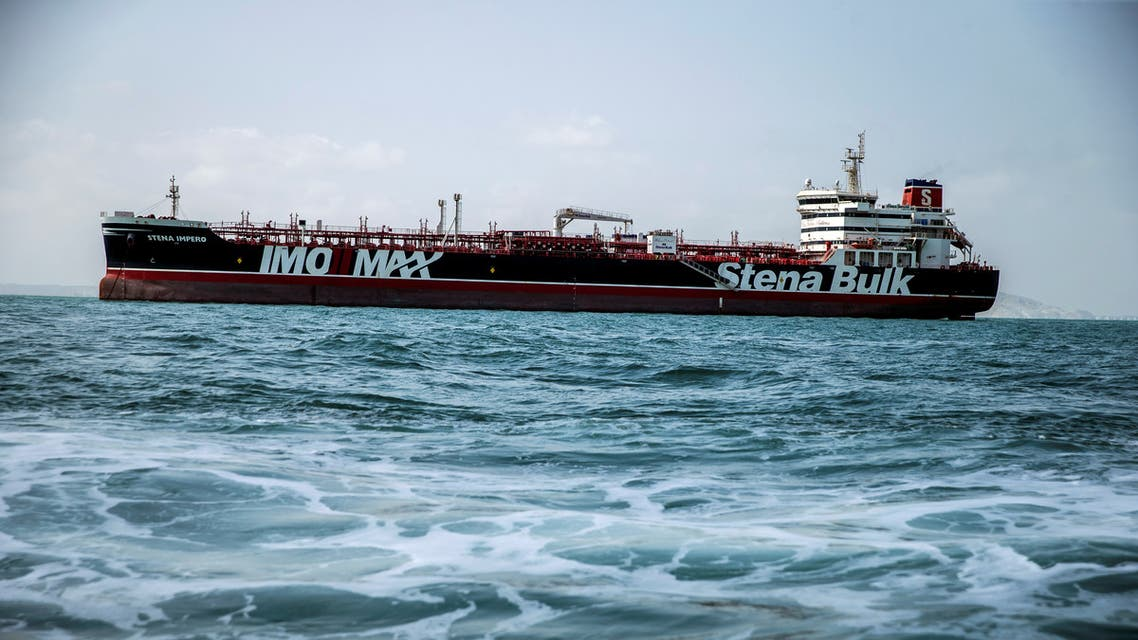 Stena Impero, a British-flagged vessel owned by Stena Bulk, is seen at undisclosed place off the coast of Bandar Abbas, Iran August 22, 2019. Nazanin Tabatabaee/WANA (West Asia News Agency) via REUTERS. ATTENTION EDITORS - THIS IMAGE HAS BEEN SUPPLIED BY A THIRD PARTY.