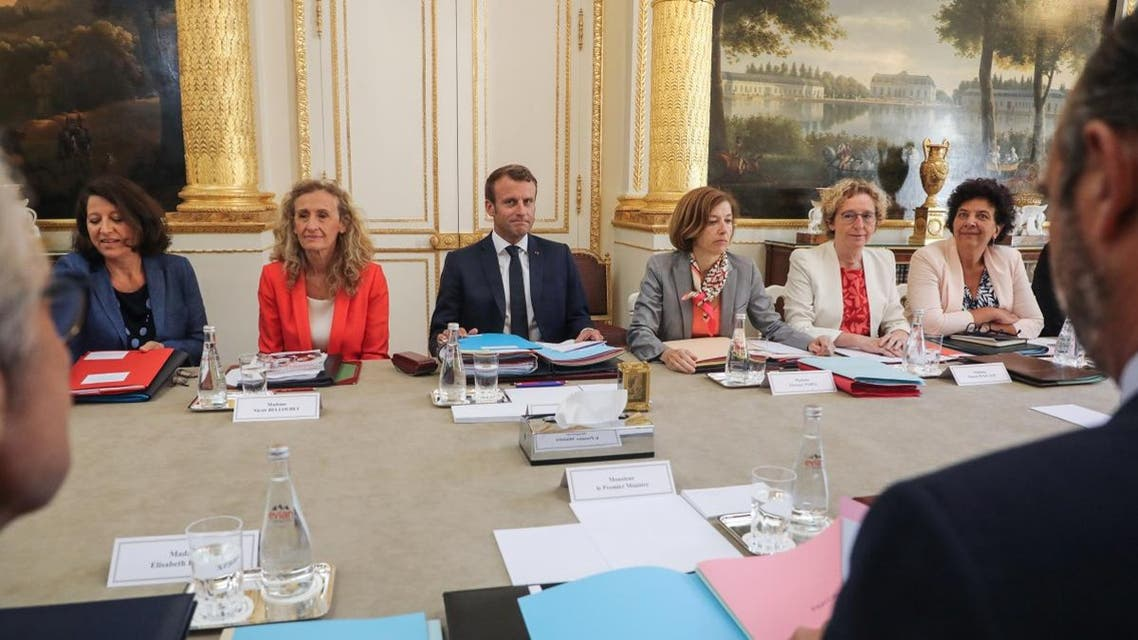 French President Emmanuel Macron chairs the government's weekly cabinet meeting on September 4, 2019 at the Elysee presidential palace in Paris. (AFP)