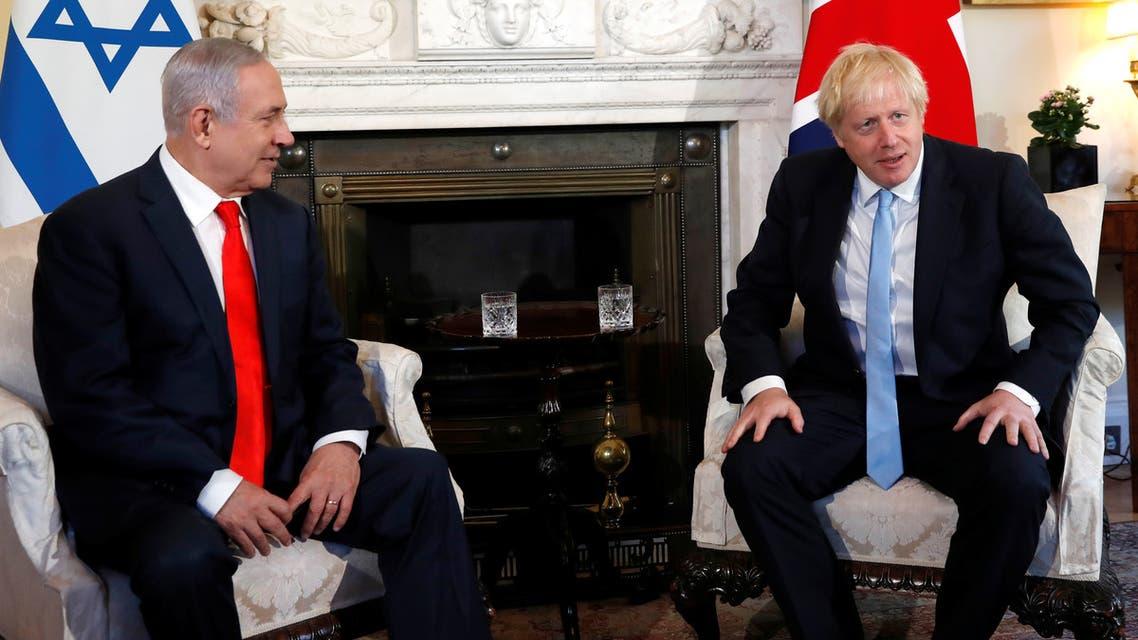 Britain's Prime Minister Boris Johnson welcomes Israel's Prime Minister Benjamin Netanyahu at Downing Street in London, Britain, September 5, 2019. Alastair Grant/Pool via REUTERS