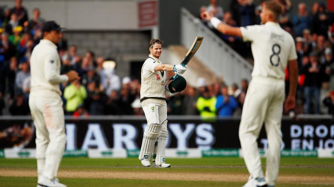 Australia's Steve Smith acknowledges the crowd after losing his wicket on the second day of the fourth test at Old Trafford on Sptember 5, 2019. (Reuters)