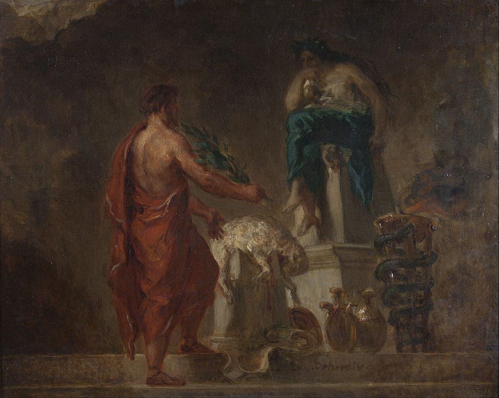 لوحة زيتية ليوجين ديلاكروا تجسد استشارة أحد الإغريقيين لبرثيا