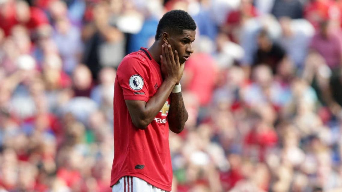 Manchester United's English striker Marcus Rashford reacts after mssing his penalty during the English Premier League football match between Manchester United and Crystal Palace at Old Trafford in Manchester, north west England, on August 24, 2019. (AFP)