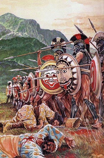 لوحة تجسد عددا من جنود أسبرطة عقب سحقهم للفرس