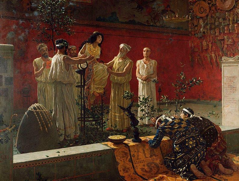 لوحة تجسد عددا من الزائرين لبيثيا بمعبد دلفي
