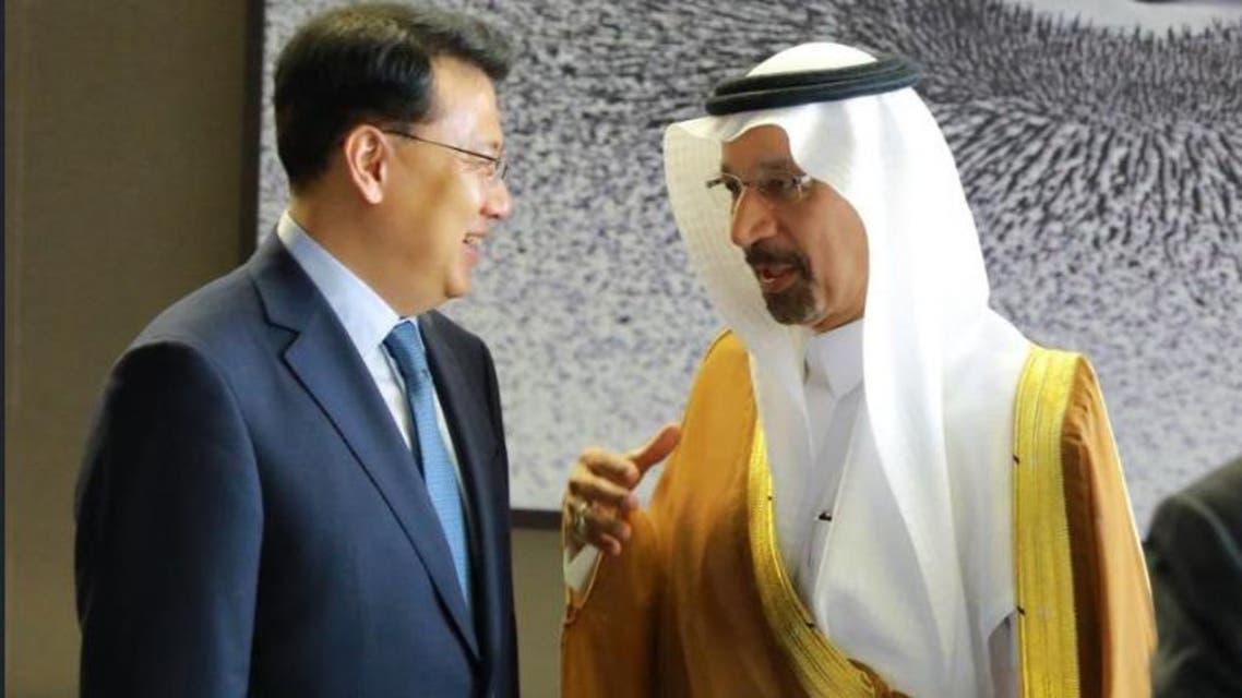 Khalid al-Falih meets Chinese officials in KSA - Screengrab Twitter