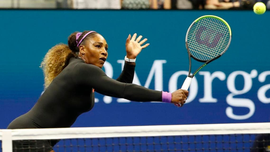 Serena Williams hits a volley against Elina Svitolina (not pictured) in a semifinal match at the 2019 US Open tennis tournament at Flushing Meadows, New York, US, on September 4, 2019. (Reuters)