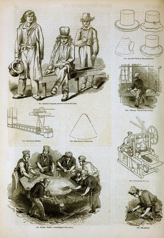 صورة تجسد عدد من مراحل صناعة القبعات