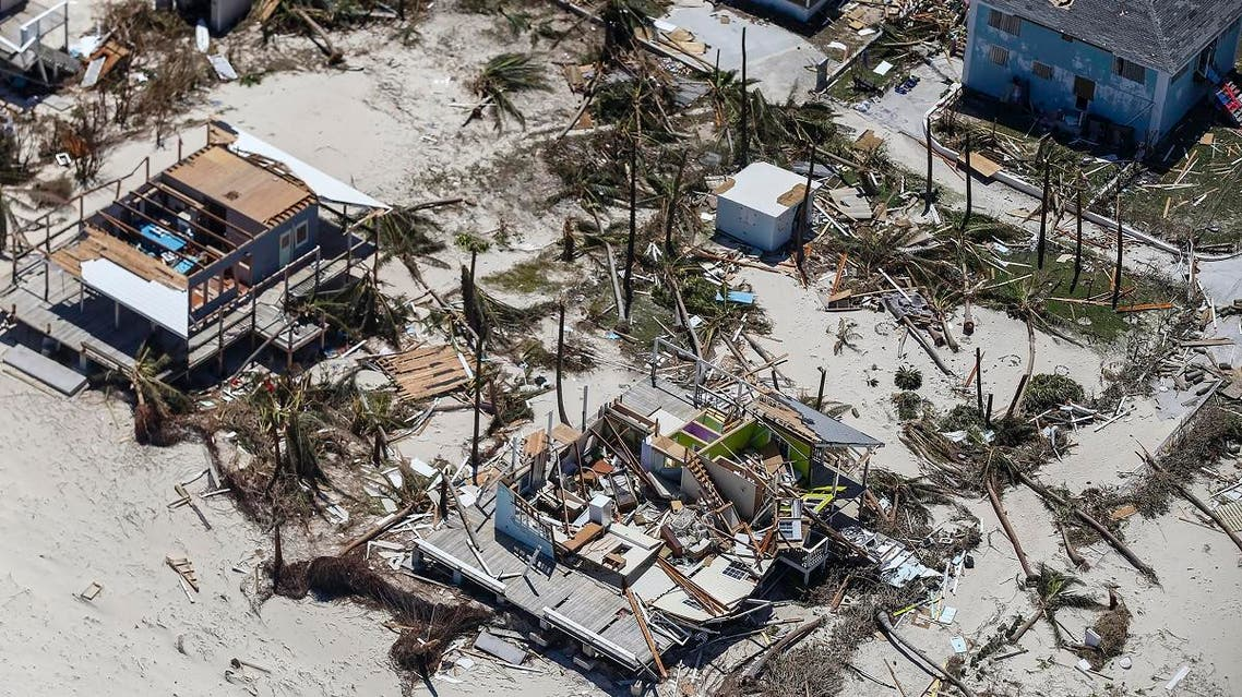 An aerial view of floods and damages from Hurricane Dorian on Freeport, Grand Bahama, on September 5, 2019. (AFP)