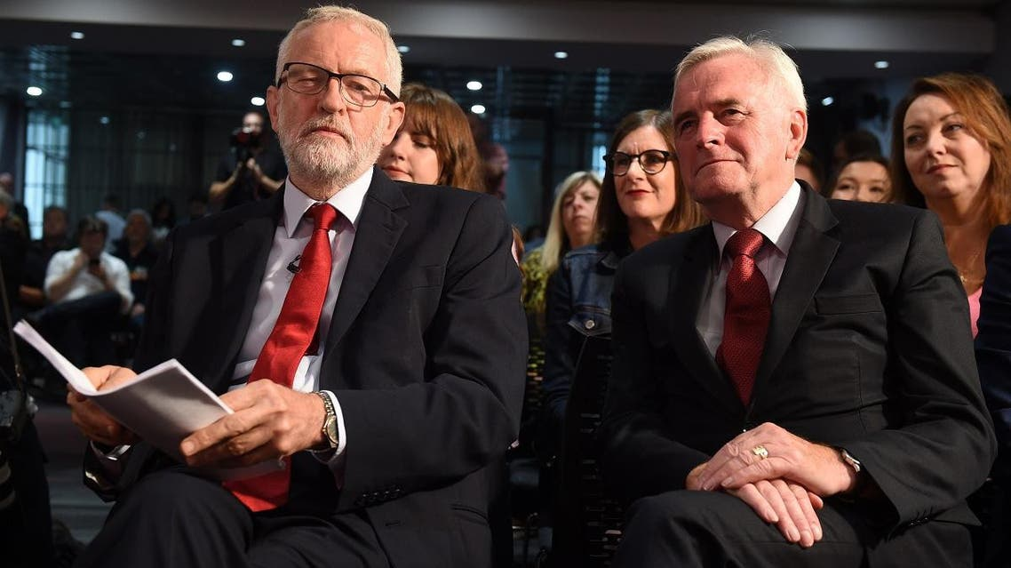 Britain's main opposition Labour Party leader Jeremy Corbyn (L) and Labour party's shadow Chancellor John McDonnell (R) wait ahead of Corbyn's keynote speech on Brexit in Salford, north-west England, on September 2, 2019. (AFP)