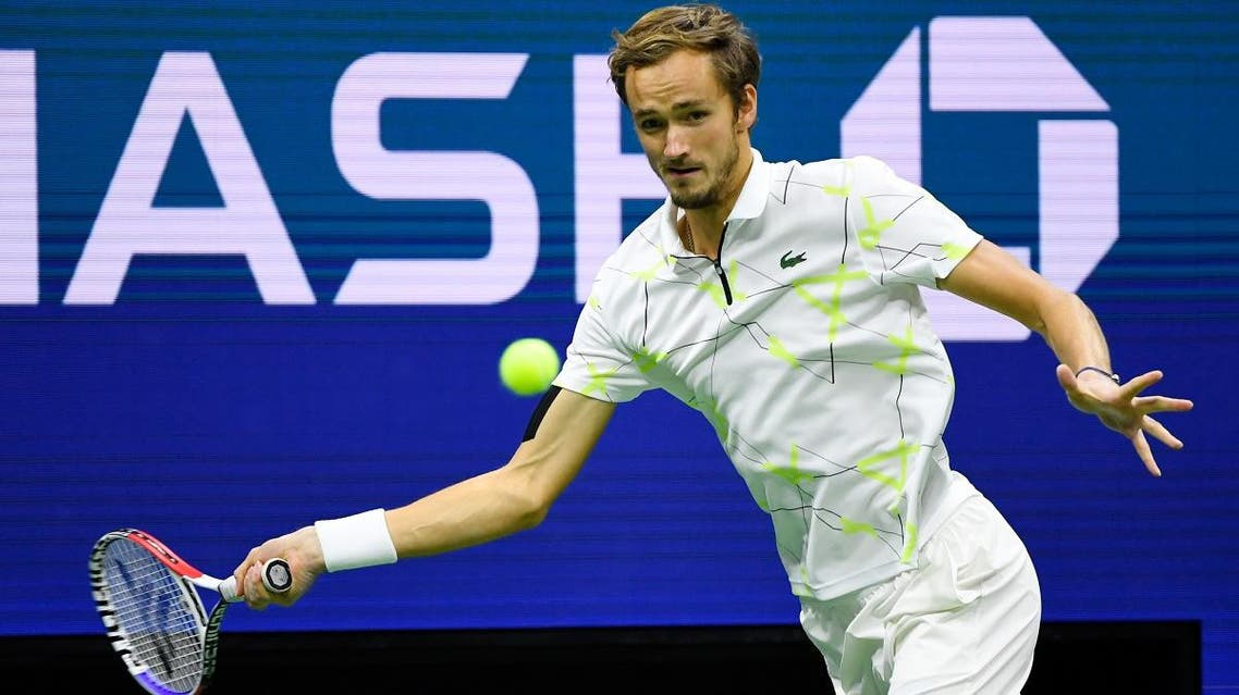 Daniil Medvedev  hits to Grigor Dimitrov in a semifinal match of the 2019 US Open tennis tournament at Flushing Meadows, New York, US, on September 6, 2019. (Reuters)
