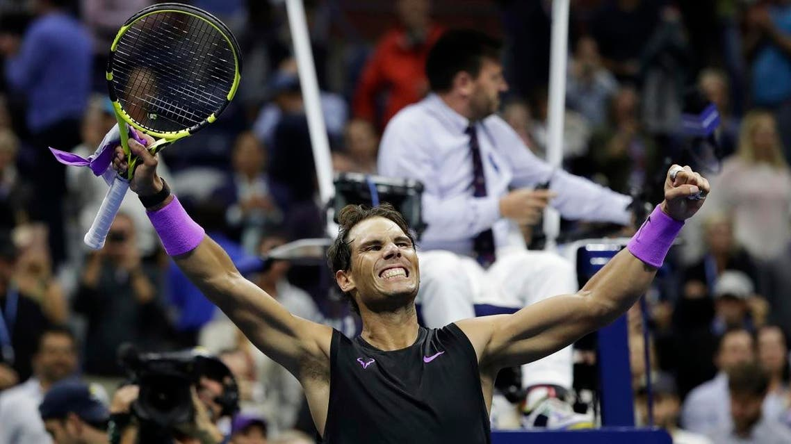 Rafael Nadal celebrates after defeating Matteo Berrettini in the men's singles semifinals of the US Open tennis championships on September 6, 2019, in New York. (AP)