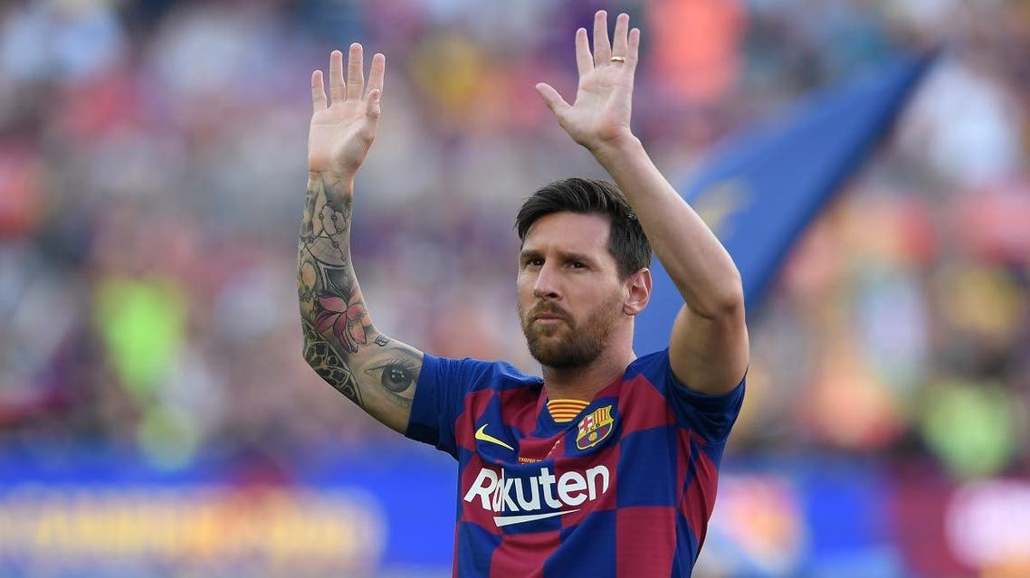 Barcelona's Argentinian forward Lionel Messi waves before the 54th Joan Gamper Trophy friendly football match between Barcelona and Arsenal at the Camp Nou stadium in Barcelona on August 4, 2019. (AFP)