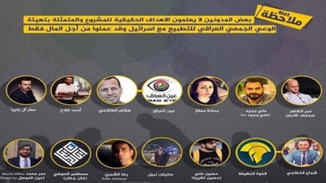 صور من المنشور الذي اتهم المدونين والناشطين والصحفيين العراقيين بالتطبيع مع اسرائيل