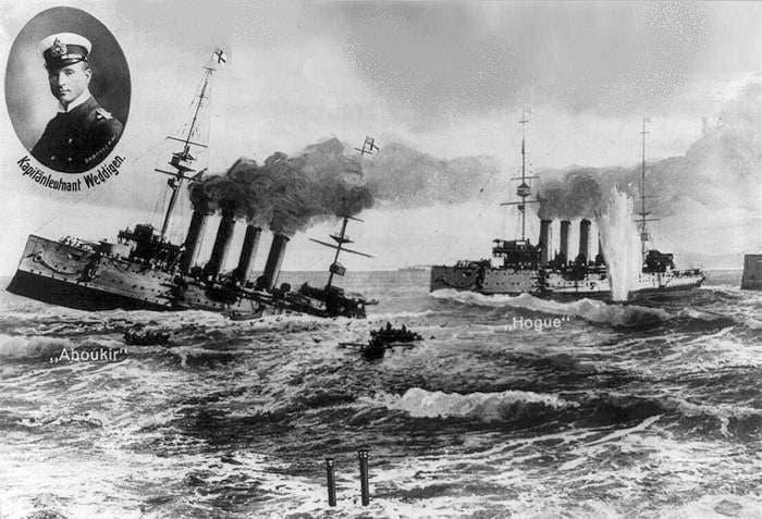 صورة لإحدى السفن البريطانية عقب استهدافها بطربيد ألماني