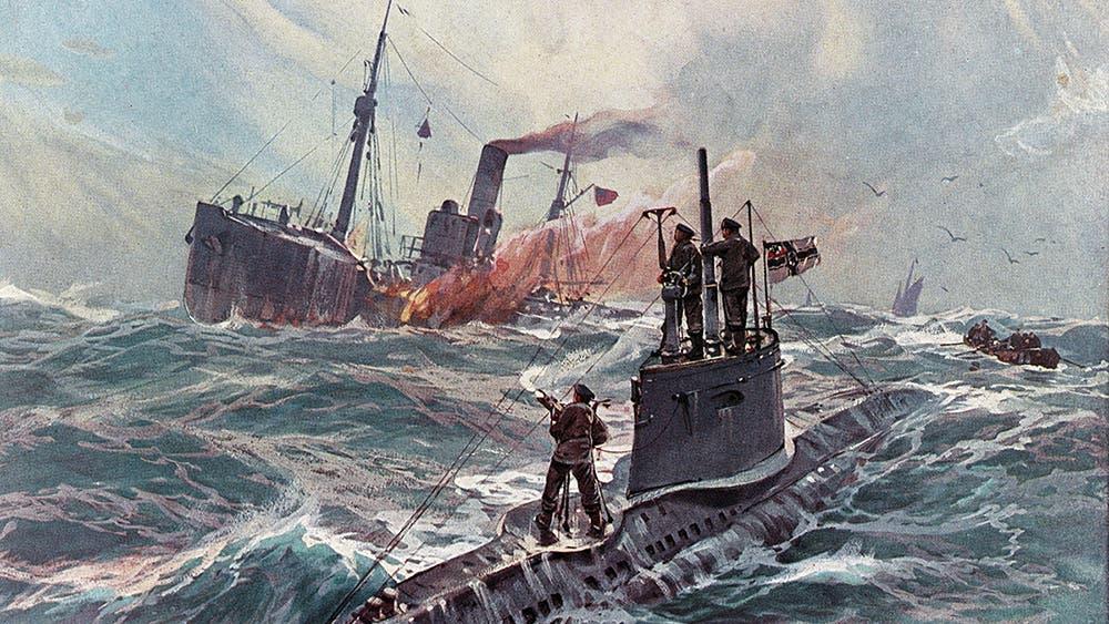 رسم تخيلي يجسد استهداف احدى سفن الشحن بعرض المحيط الأطلسي أثناء الحرب العالمية الأولى