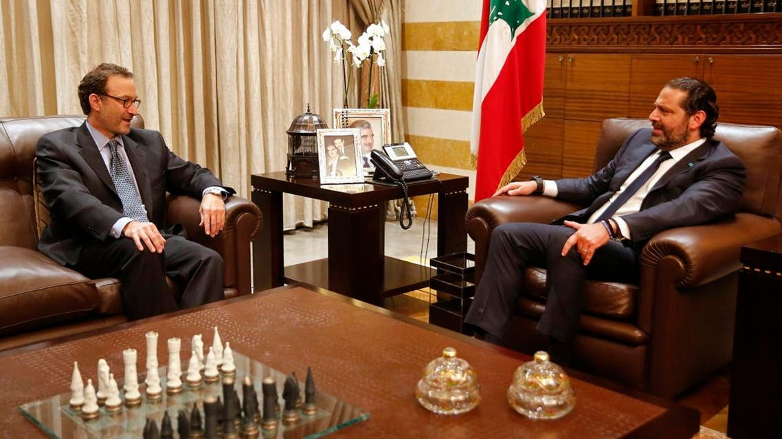 Lebanese Prime Minister Saad Hariri, right, meets with David Schenker, Assistant Secretary of State for Near Eastern Affairs, in Beirut, Lebanon, Monday, Sept. 9, 2019. (AP)