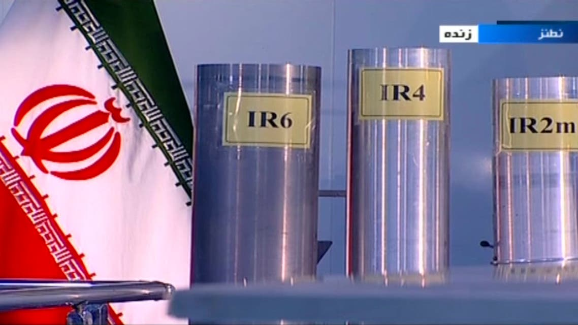 In this June 6, 2018, file frame from Islamic Republic Iran Broadcasting, IRIB, state-run TV, three versions of domestically-built centrifuges are shown in a live TV program from Natanz, an Iranian uranium enrichment plant, in Iran. (IRIB via AP)