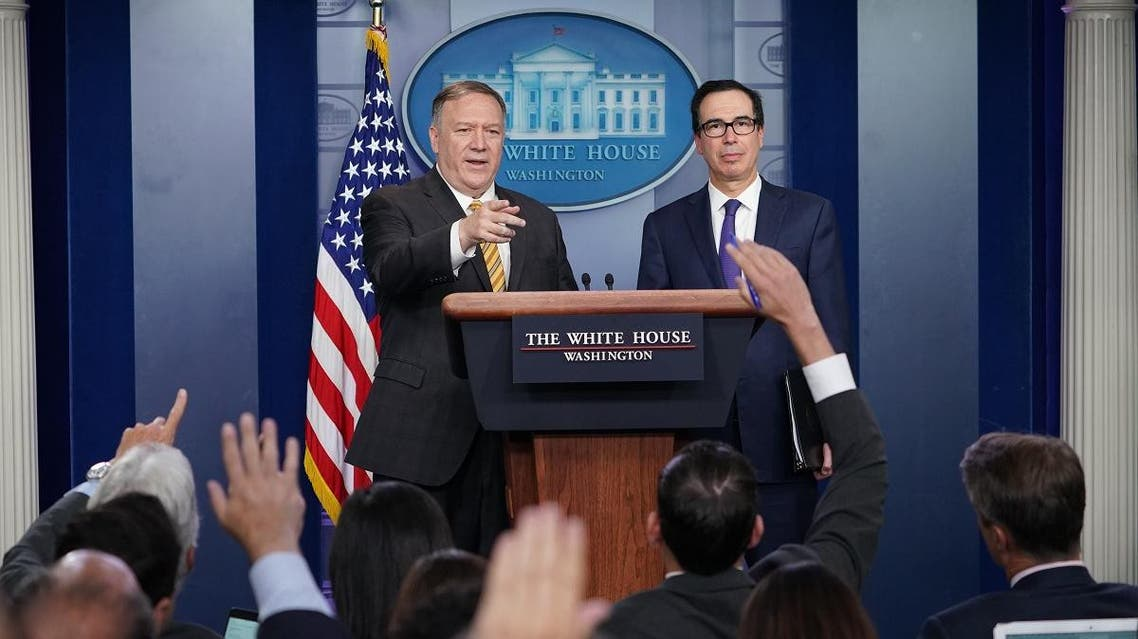 US Secretary of State Mike Pompeo and Treasury Secretary Steven Mnuchin brief the media on September 10, 2019, at the White House in Washington, DC. (AFP)