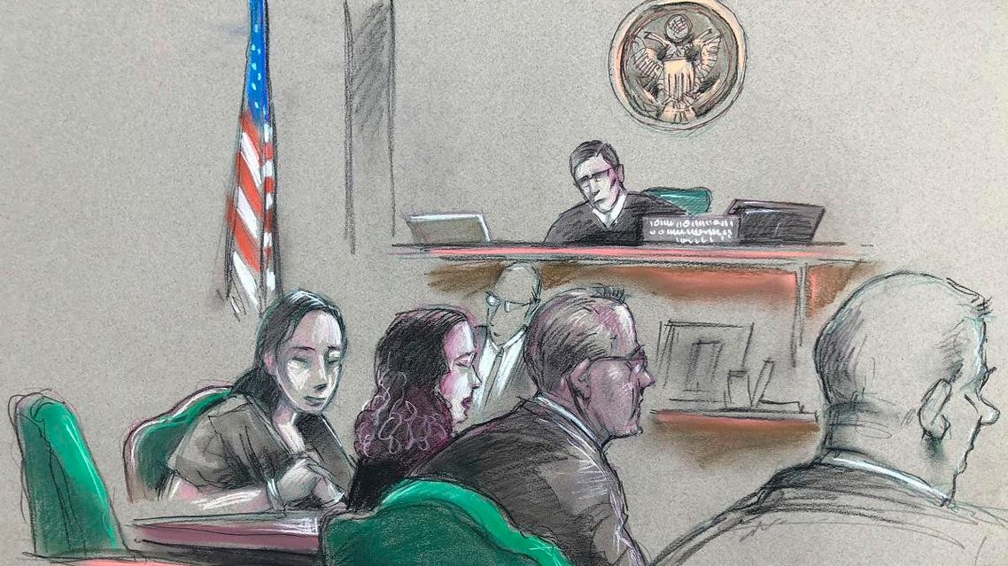 In this artist sketch, a Chinese woman, Yujing Zhang (left), listens to a hearing on April 8, 2019, before federal Magistrate Judge William Matthewman in West Palm Beach, Florida. (AP)