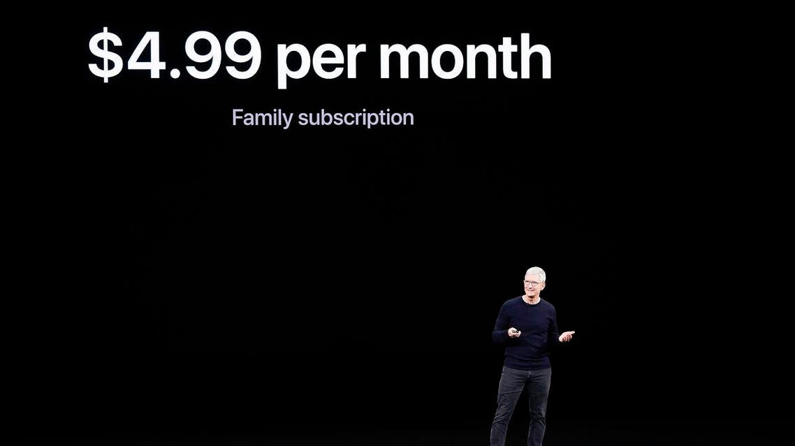 Apple CEO Tim Cook announces Apple TV+ during an new product event Tuesday, Sept. 10, 2019, in Cupertino, Calif. (AP)