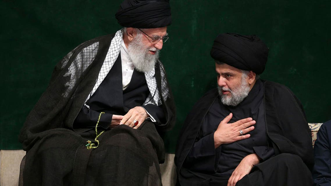 Prominent Iraqi Shiite political leader Muqtada al-Sadr met with Iran's Supreme Leader Ali Khamenei in Tehran (AP)