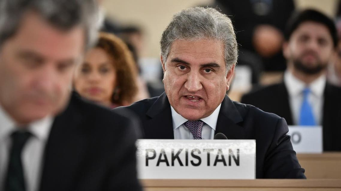 Pakistani Foreign Minister Shah Mehmood Qureshi addresses the United Nations Human Rights Council on September 10, 2019 in Geneva. (AFP)