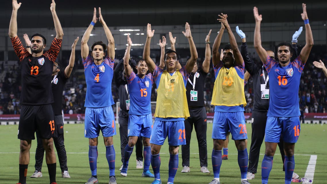 India celebrate 0-0 draw against Qatar, 2022 FIFA world cup Doha - Reuters