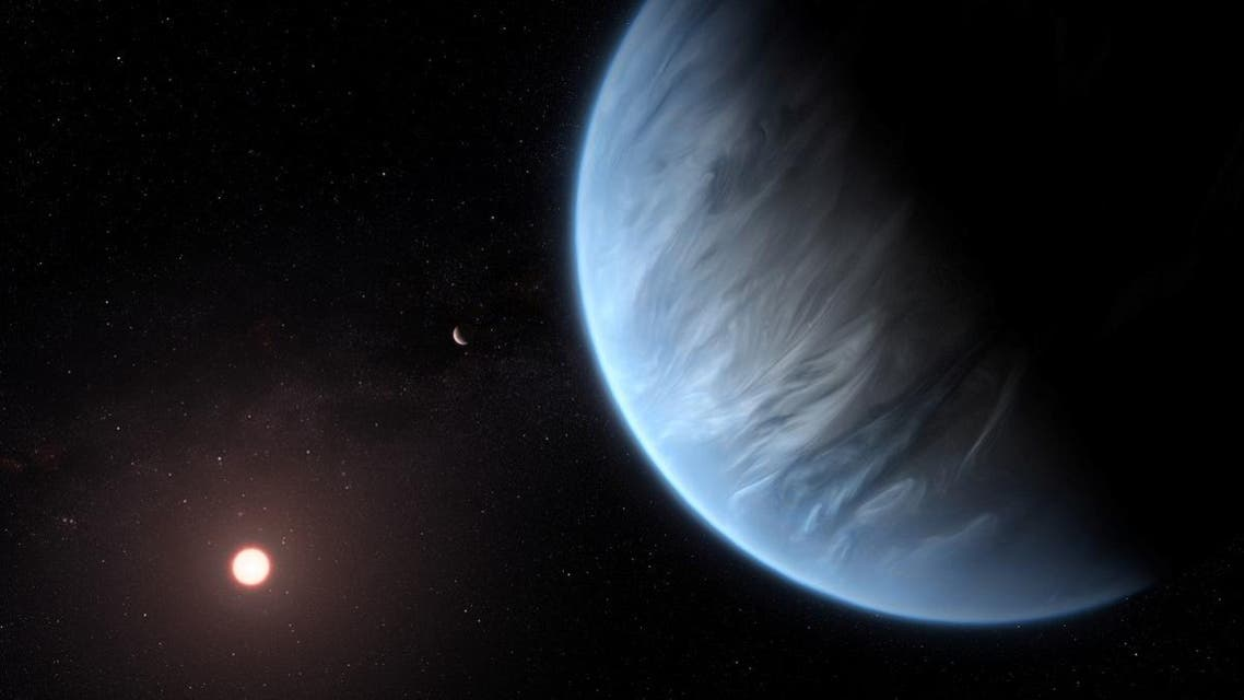 An artist's impression released by NASA on September 11, 2019, shows the planet K2-18b, its host star and an accompanying planet. (Reuters)