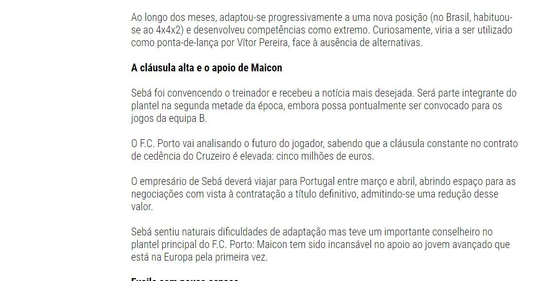 تقرير الصحيفة البرازيلية عن الدعم الذي قدمه مايكون إلى سيبا