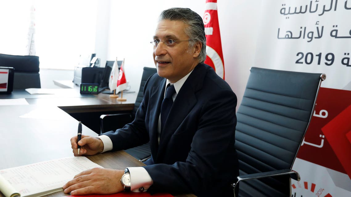 FILE PHOTO: Nabil Karoui, businessman and owner of the private channel Nessma TV, submits his candidacy for the presidential election in Tunis, Tunisia, August 2, 2019. Picture taken August 2, 2019. REUTERS/Zoubeir Souissi/File Photo