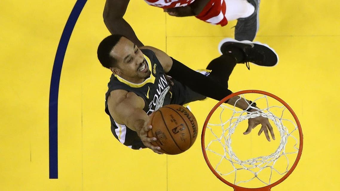 Shaun Livingston #34 of the Golden State Warriors attempts a shot against Pascal Siakam #43 of the Toronto Raptors during Game Six of the 2019 NBA Finals. (AFP)