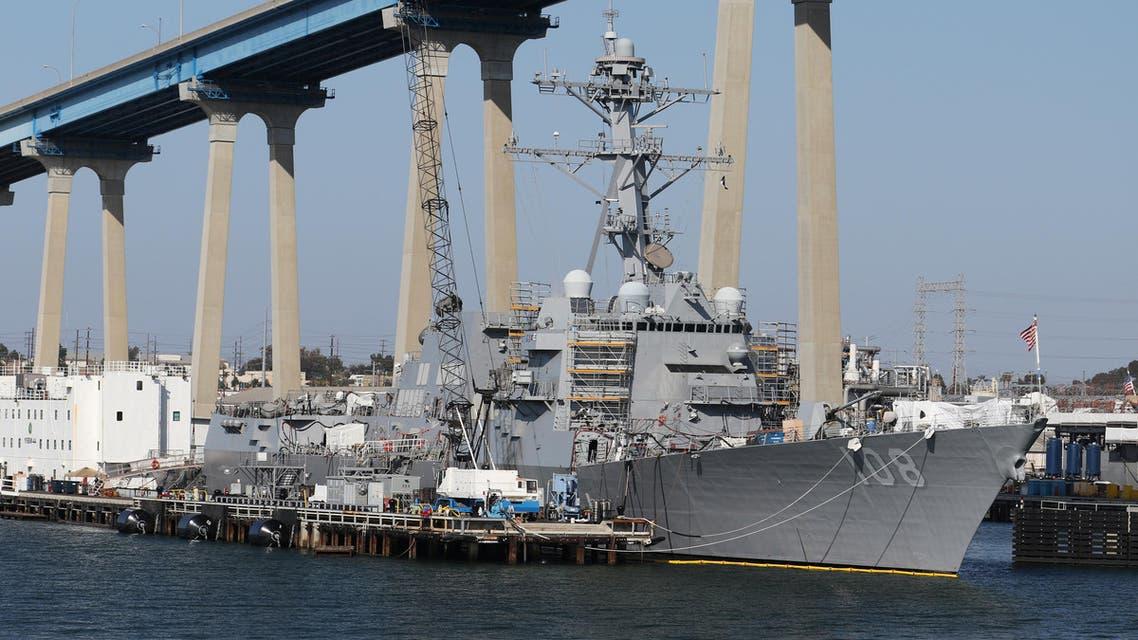 The USS Wayne E. Meyer (DDG-108) Arleigh Burke-class Destroyer sits docked in San Diego, California, April 12, 2015. REUTERS