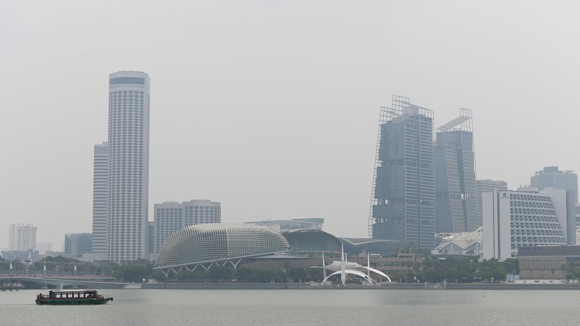 A general view of the city skyline at Marina Bay as buildings are shrouded in haze in Singapore on September 13, 2019.  (AFP)
