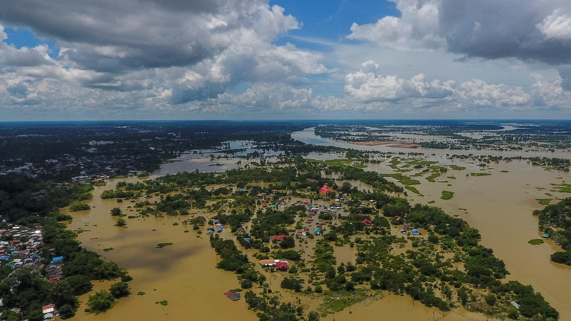 This aerial picture shows a flooded area in Thailand's northeastern province of Ubon Ratchathani on September 14, 2019. (AFP)