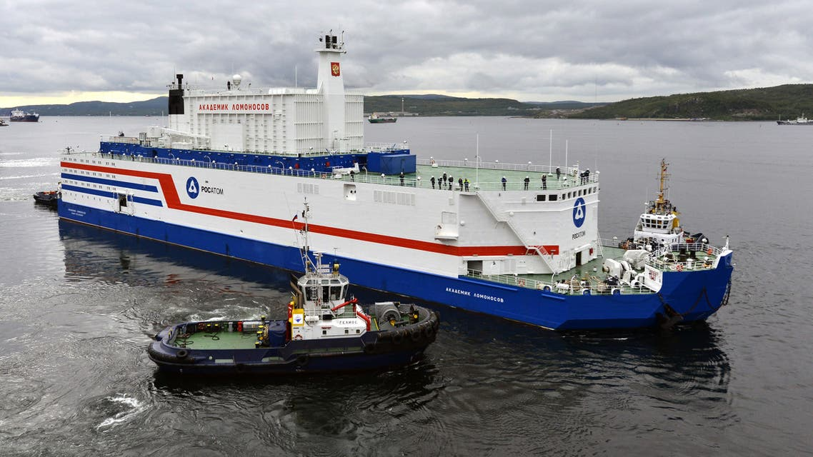 (FILES) This file handout picture taken and released on August 23, 2019, by the Russian nuclear agency ROSATOM shows the floating power unit (FPU) Akademik Lomonosov being towed from the Arctic port of Murmansk, northwestern Russia. The world's first floating nuclear power plant, developed by Russia, is arrived on September 14, 2019 at its permanent parking port in Pevek, Russia's Far East, after travelling 5,000 kilometres in the Arctic.