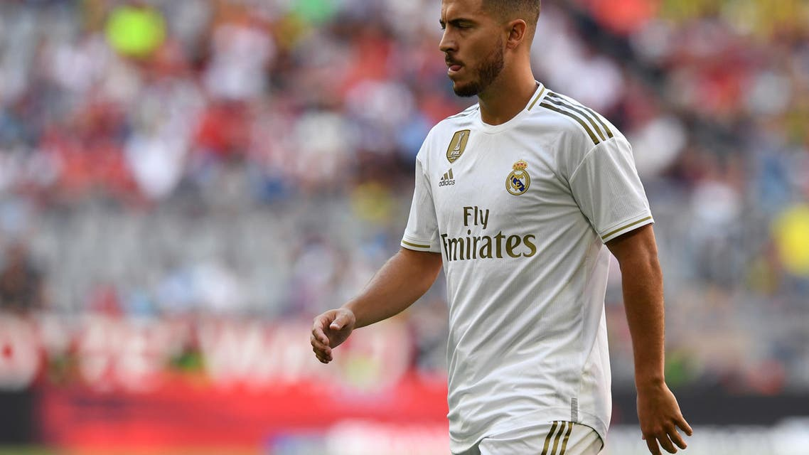 Real Madrid's Belgian midfielder Eden Hazard is pictured during the Audi Cup football match between Real Madrid and Tottenham Hotspur in Munich, southern Germany, on July 30, 2019. (