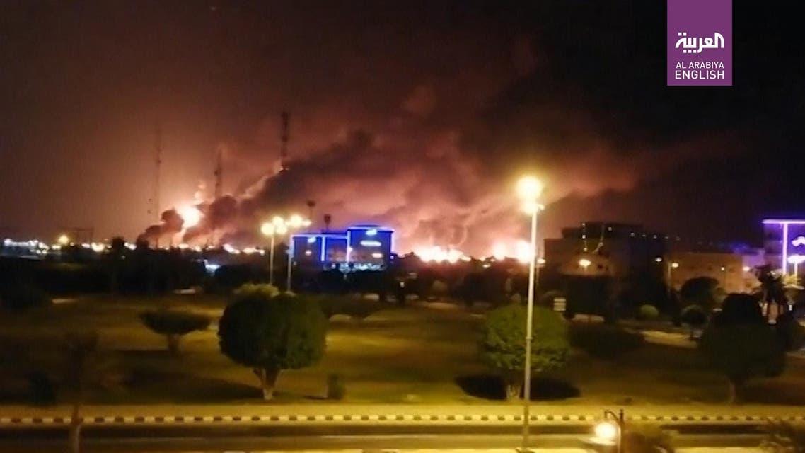 Saudi Aramco fires. (Screengrab)