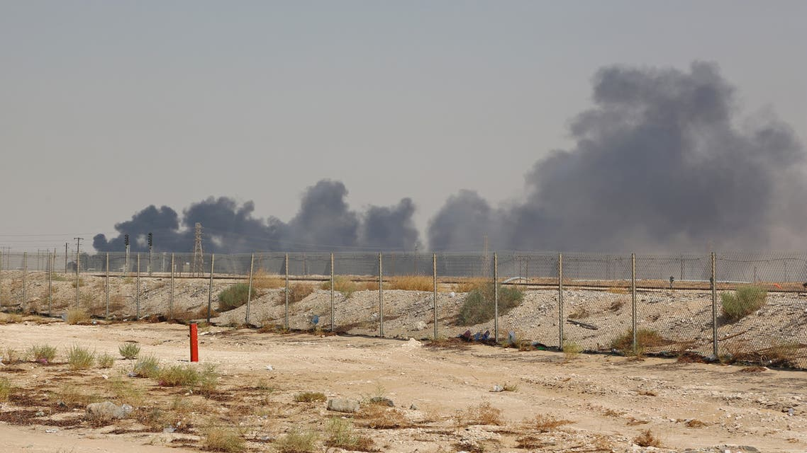 Smoke billows from an Aramco oil facility in Abqaiq about 60km (37 miles) southwest of Dhahran in Saudi Arabia's eastern province on September 14, 2019. Drone attacks sparked fires at two Saudi Aramco oil facilities early today, the interior ministry said, in the latest assault on the state-owned energy giant as it prepares for a much-anticipated stock listing. Yemen's Iran-aligned Huthi rebels claimed the drone attacks, according to the group's Al-Masirah television.