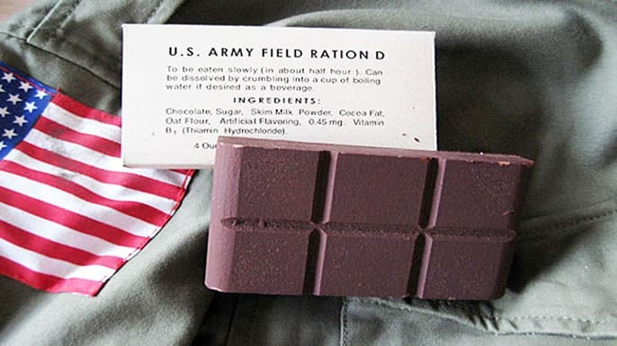 صورة لقطعة شوكولاتة زود بها الجيش الأميركي بالحرب العالمية الثانية