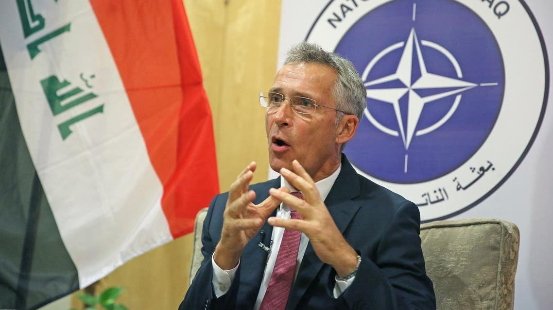 NATO Secretary General Jens Stoltenberg speaks to AFP on September 16, 2019 in the Iraqi capital Baghdad, where he made his first comments on the strikes on two major Saudi oil facilities that were claimed by Yemen's Houthis. (AFP)