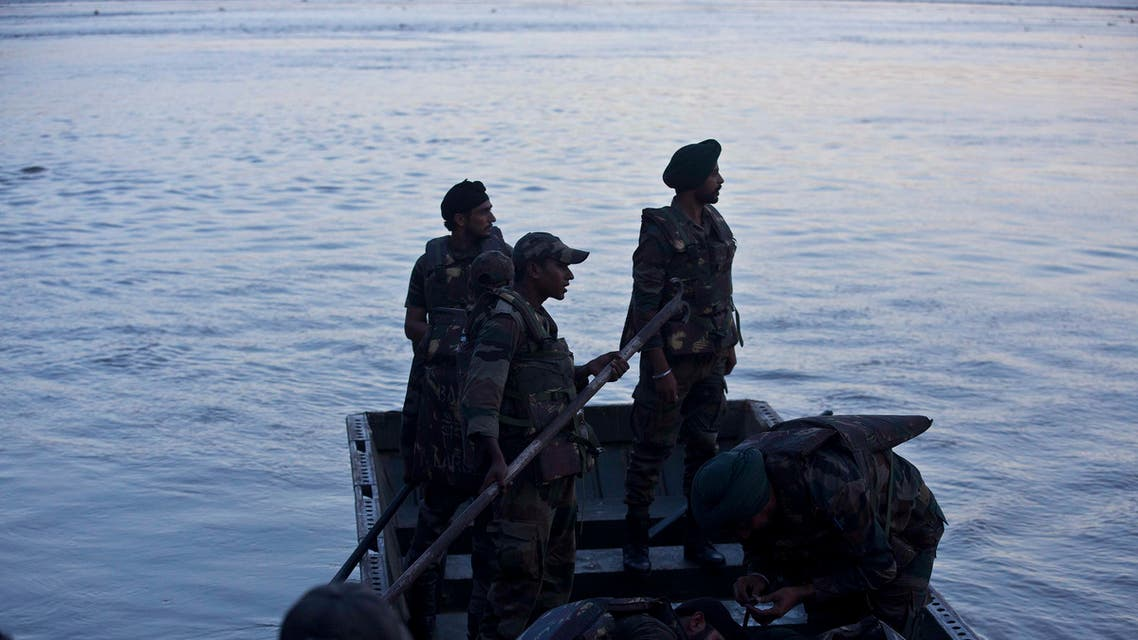 Indian army personnel leave for search and rescue in the Brahmaputra River after a boat capsized on the outskirts of Gauhati, India, Wednesday, Sept. 5, 2018.  (AP)