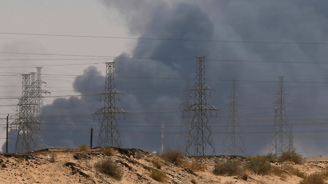 Smoke is seen following a fire at an Aramco factory in Abqaiq, Saudi Arabia, September 14, 2019. REUTERS/Stringer