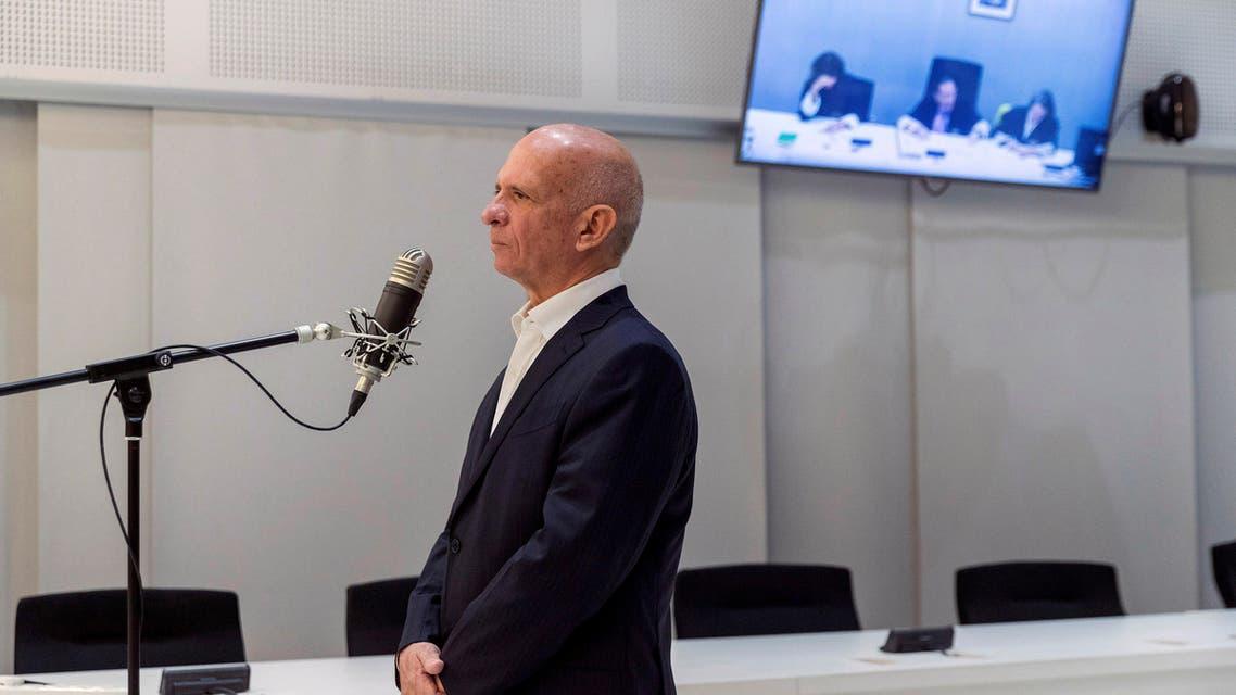 Retired Maj. Gen. Hugo Carvajal speaks during an extradition hearing at the National Court in Madrid, Spain, Thursday Sept. 12, 2019. (AP)