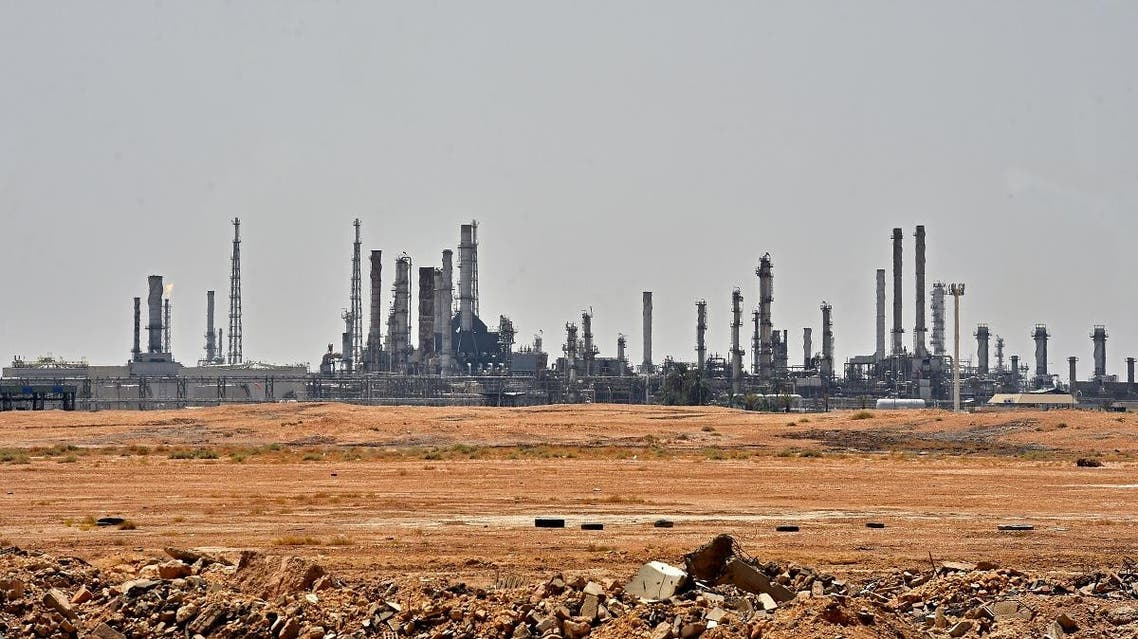 A picture taken on September 15, 2019 shows an Aramco oil facility near al-Khurj area, just south of the Saudi capital Riyadh. (AFP)
