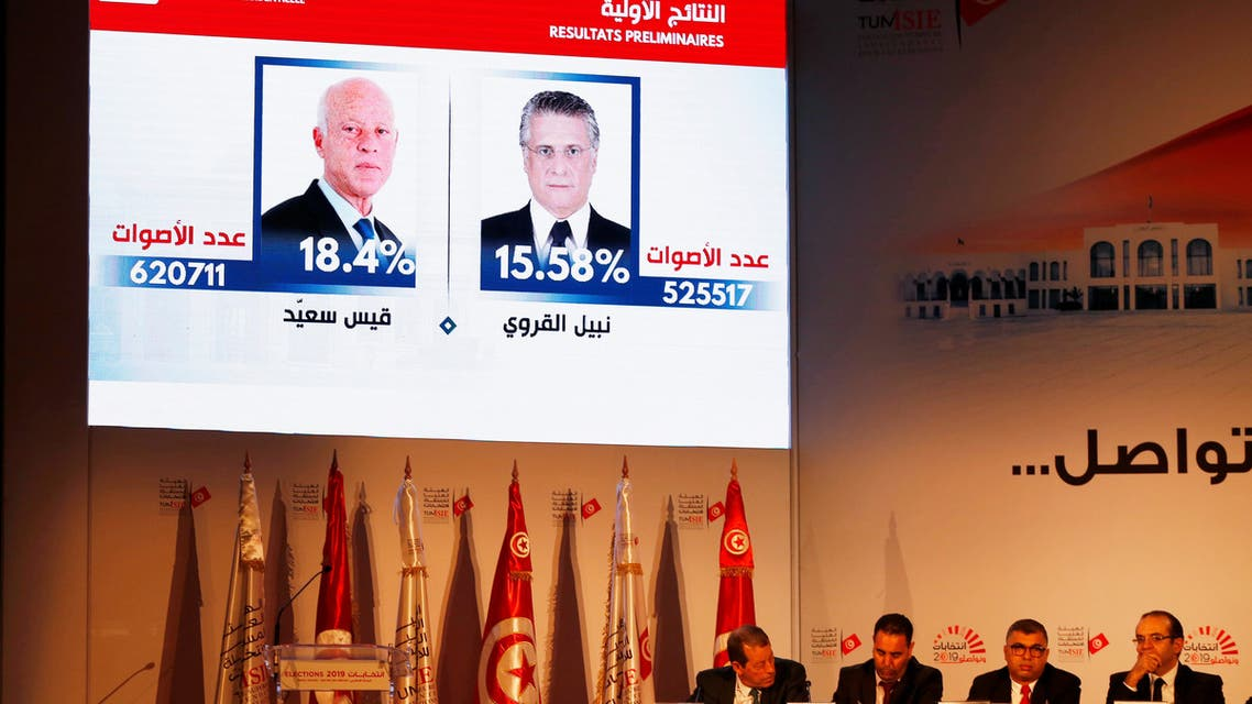 Nabil Baffoun, President of the Independent Higher Authority for Elections (ISIE), announces the results in the first round of Tunisia's presidential election in Tunis, Tunisia September 17, 2019. REUTERS/Zoubeir Souissi