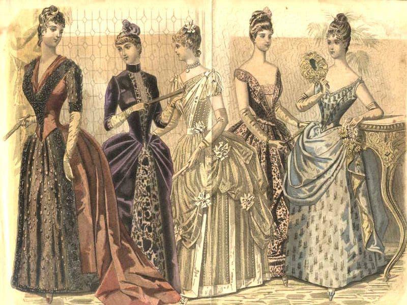 رسم تخيلي لعدد من النساء اللواتي قلّدن موضة العهد الفيكتوري