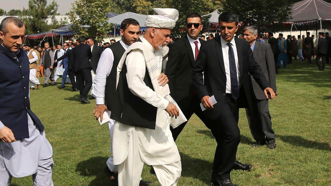 Ashraf Ghani bodyguards speech afghanistan president walking tour - AP