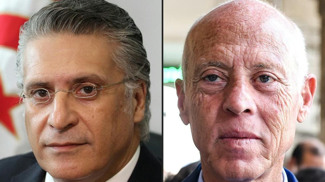 This combination of file pictures created on September 16, 2019 shows (L to R) Nabil Karoui, Tunisian media magnate and presidential candidate for Qalb Tounes (Heart of Tunisia) party, currently jailed on corruption charges, in Tunis on August 2, 2019; and independent candidate Kais Saied in the capital Tunis on September 10, 2019. (AFP)